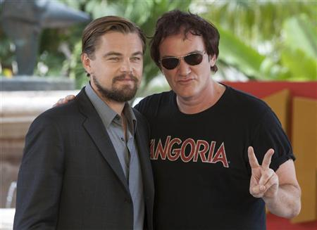 """U.S actors DiCaprio and Tarantino, pose during the launch of their film """"Django Unchained"""" in Cancun"""