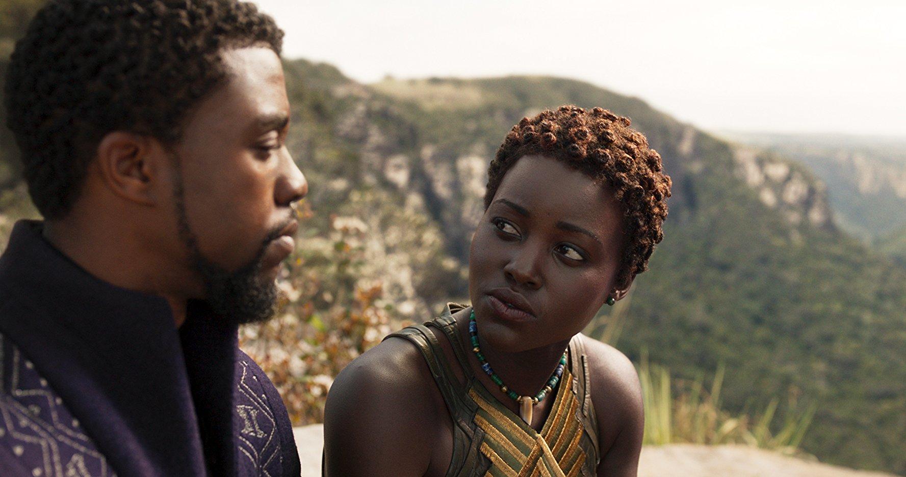 Black Panther: T'Challa (Chadwick Boseman) e Nakia (Lupita Nyong'o)