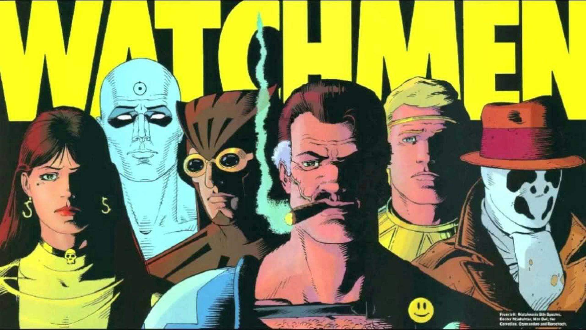 I protagonisti del fumetto Watchmen, ritratti in primo piano nella copertina di una graphic novel.