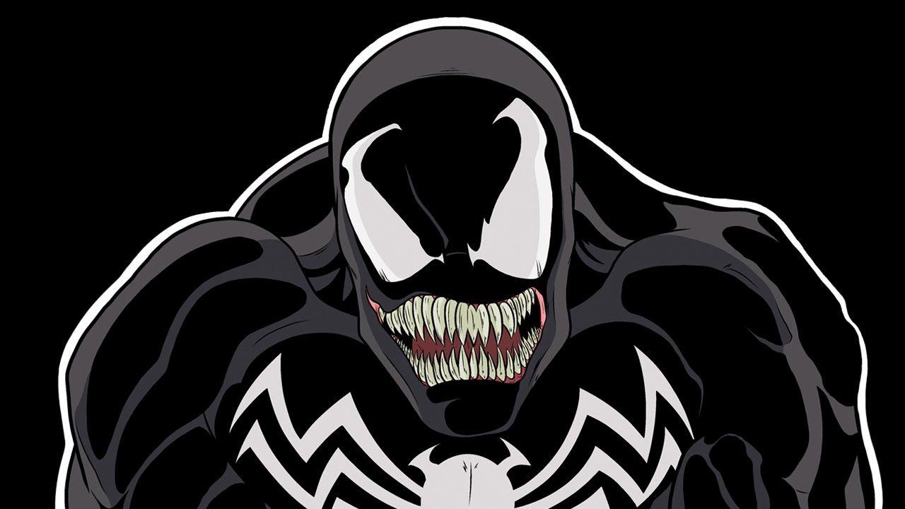 Venom disegnato in primo piano, su sfondo nero.