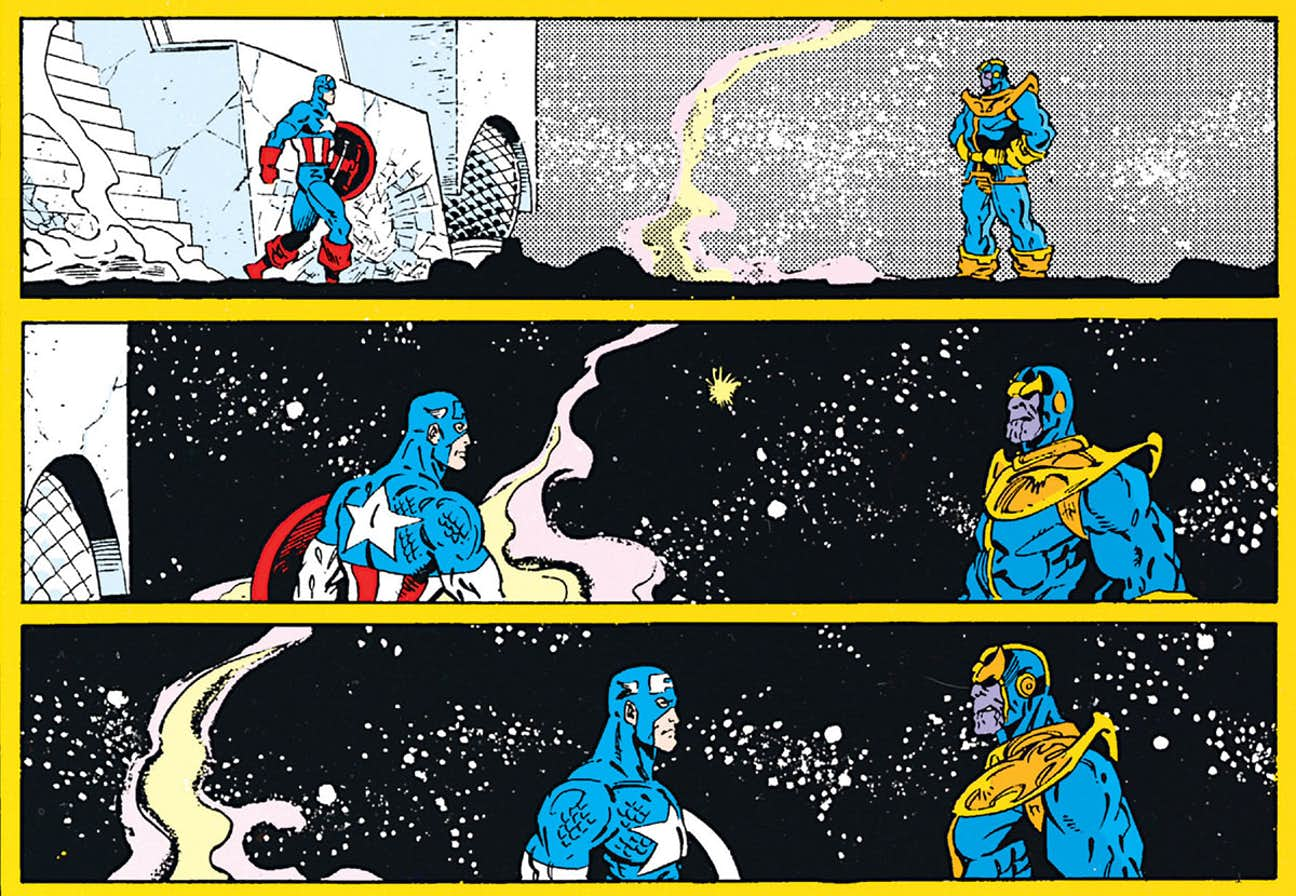 Lo scontro finale nel fumetto, in cui gli Avengers sono sterminati e resta solo Cap a difendere l'Universo.