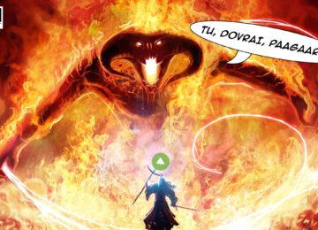 Amazon Prime, rappresentato da Gandalf, fronteggia il budget per la serie tv su The Lord of the Rings, rappresentata dal Balrog.