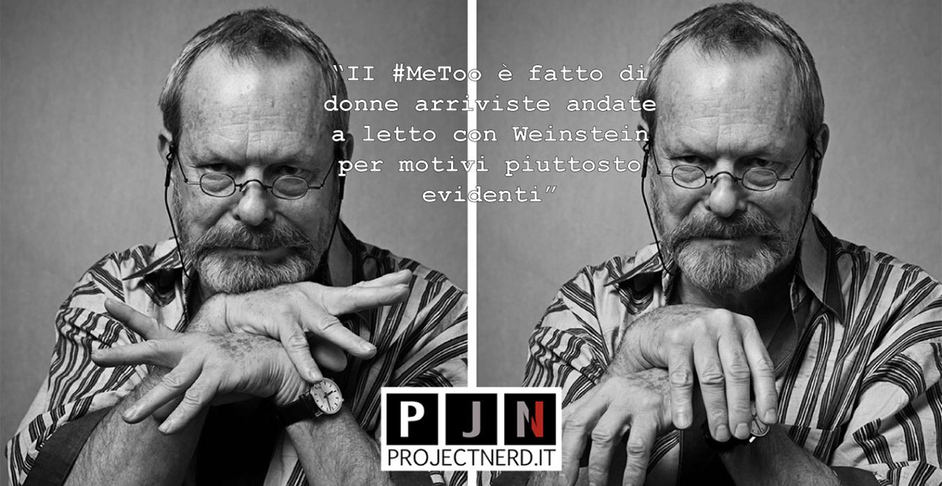 Terry Gilliam in un doppio ritratto in bianco e nero, con diverse pose delle mani. Ha recentemente criticato il #MeToo